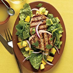 Grilled Yellowfin Tuna with Romaine and Tropical Fruit recipe