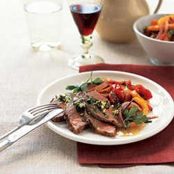 Roast Lamb with Peppers and Mint Gremolata recipe