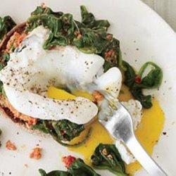 Eggs Florentine with Sun-Dried Tomato Pesto recipe