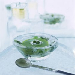Chilled Pea Broth with Lemon Cream recipe