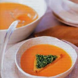 Spicy Roasted Squash Soup with Pumpkin Seed Pesto recipe