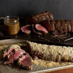 Porcini-Crusted Beef Tenderloin with Truffle Butter Sauce recipe