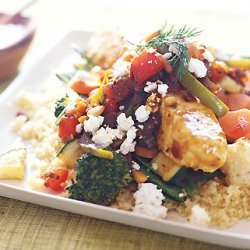 Black Sea Bass with Moroccan Vegetables and Chile Sauce recipe