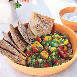 Roasted Eggplant Salad with Pita Chips and Yogurt Sauce recipe