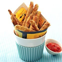 Baked Zucchini Fries with Tomato Coulis Dipping Sauce recipe