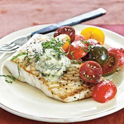 Sauteed Halibut with Lemon-Pesto Butter recipe