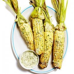 Grilled Corn on the Cob with Cilantro Queso Fresco Butter recipe