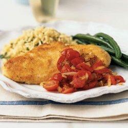 Parmesan Chicken Paillards with Cherry Tomato Sauce recipe