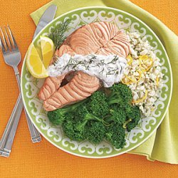 Poached Salmon Steaks with Yogurt-Dill Sauce recipe