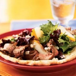 Open-Faced Steak, Pear, and Gorgonzola Sandwiches recipe