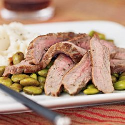 Flank Steak and Edamame with Wasabi Dressing recipe
