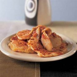 Cheddar Pancakes with Sauteed Apples and Bacon recipe