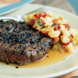 Sesame-Crusted Beef Tenderloin Steaks with Pineapple, Mango, and Red Pepper Relish recipe