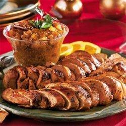 Spiked Pork Tenderloin with Sunny Pear Chutney recipe