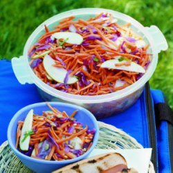 Carrot, Cabbage, and Apple Slaw with Cumin Lime Dressing recipe