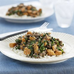 Beef with Sweet Potatoes and Spinach recipe
