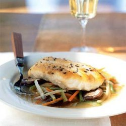 Striped Bass Fillet with Lobster Stock and Aromatic Vegetables recipe