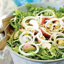 Arugula Salad with White Nectarines and Mango Chutney Dressing recipe