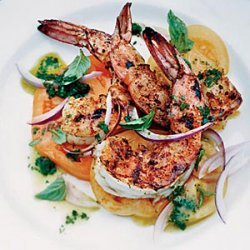 Barbecued Spiced Shrimp with Tomato Salad recipe