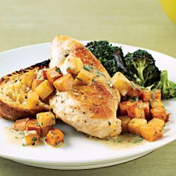 Sauteed Chicken with Sweet Potatoes and Pears recipe
