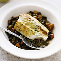 Halibut with Lentils and Mustard Sauce recipe