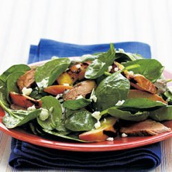 Spinach Salad with Grilled Pork Tenderloin and Nectarines recipe