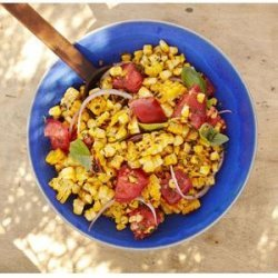 Charred Corn Salad with Basil and Tomatoes recipe