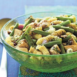Chicken, Bean, and Blue Cheese Pasta Salad with Sun-Dried Tomato Vinaigrette recipe