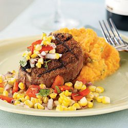 Chile-Rubbed Steak with Corn and Red Pepper Relish recipe