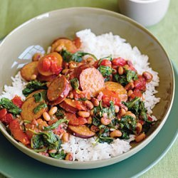 Spicy Turkey Sausage With Black-Eyed Peas and Spinach recipe