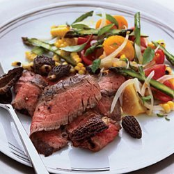 Grilled Flank Steak with Corn, Tomato and Asparagus Salad recipe