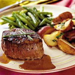 Steaks with Caramel-Brandy Sauce recipe