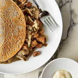 Savory Buckwheat Crepes with Ham and Mornay Sauce recipe