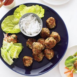 Shrimp and Pork Meatball Wraps with Vietnamese Dipping Sauce recipe