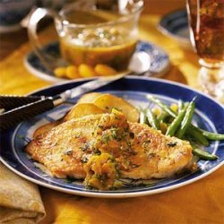 Apricot Chicken with Roasted Potato Thins recipe