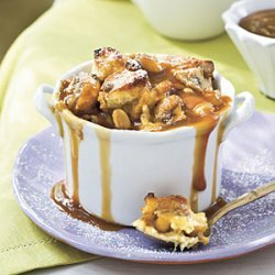 Peanut Butter-Banana Sandwich Bread Puddings With Dark Caramel Sauce recipe