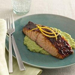 Glazed Salmon With Edamame recipe