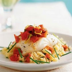 Oven-Roasted Sea Bass with Couscous and Warm Tomato Vinaigrette recipe