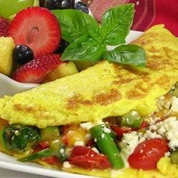 Greek Omelet With Asparagus and Feta Cheese recipe
