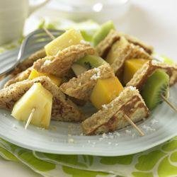 Whole Grain French Toast and Tropical Fruit Kabobs recipe