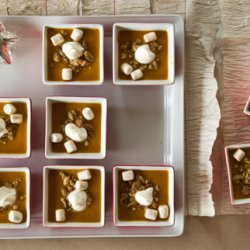 Savory Pumpkin Pie Soup with Cinnamon Marshmallows, Pepita Streusel, and Whipped Crème Fraîche recipe