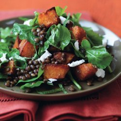 Spiced Pumpkin, Lentil, and Goat Cheese Salad recipe