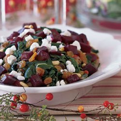 Swiss Chard with Beets, Goat Cheese, and Raisins recipe