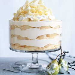 White Chocolate Tiramisu Trifle with Spiced Pears recipe