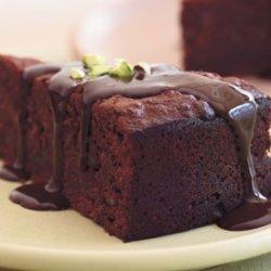 Chocolate-Pistachio Torte with Warm Chocolate Ganache recipe