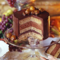 Chocolate Chestnut Torte with Chocolate Cognac Mousse recipe