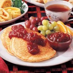 Eggnog Pancakes with Cranberry Sauce recipe