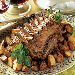 Roast Racks of Lamb with New Potatoes and Mint Pesto recipe
