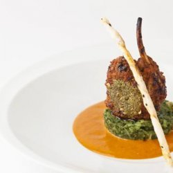 Rack of Lamb with Spinach Pine-Nut Crust and Minted Pea Sauce recipe