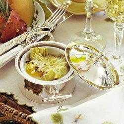 Baked Eggs with Artichokes and Parmesan recipe